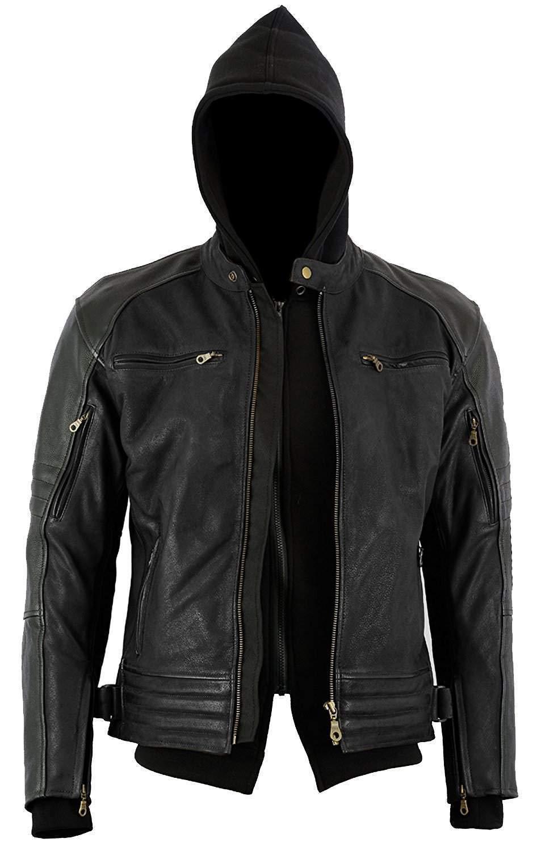 Bikers Gear Australia Limited die Craig Motorrad Jacke Nubuk gewachst Rindsleder Leder Hoodie mit 5-Punkt Armour, Full Black, anthrazit schwarz, Grö ß e XL LJ1111XL