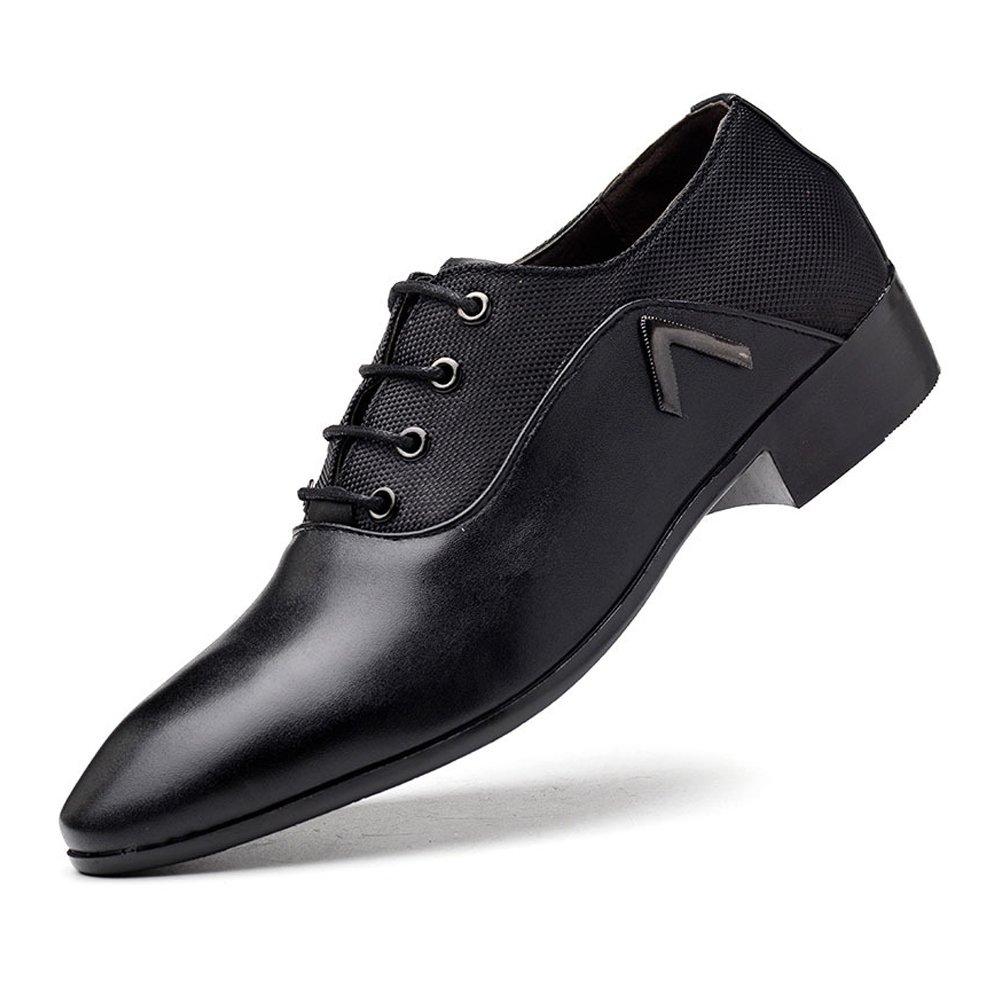 ZX Leder Oxford Schuhe Männer, Glatte PU-Leder & Leinwand Splice Schuhe Obere Lace up Atmungsaktive Formale Geschäfts Oxfords Für Männer (Farbe : Orange, Size : 45 EU)