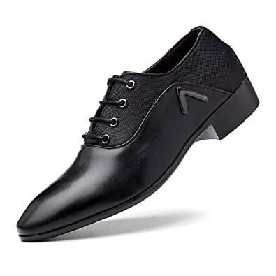 Ruanyi Leder Oxford Schuhe Männer, Lace-up Wedding Dress Schuhe PU-Leder Schwarz Formale Business Oxfords für Herren (Farbe : Black, Size : 43 EU)