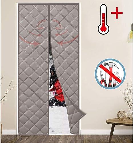 WISKEO Cortina Termica Infantil Magnética con Aislante Térmico A Prueba de Viento Fácil de Ensamblar Puertas Correderas - Gris 175x270CM: Amazon.es: Hogar