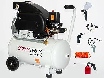 Starkwerk SW 255/08 - Compresor de aire comprimido (con set de 13 piezas de aire comprimido): Amazon.es: Bricolaje y herramientas