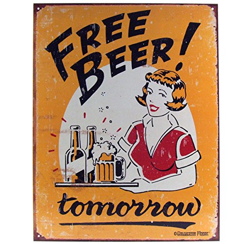 Beer Free - Free Beer Tomorrow Metal Bar Sign
