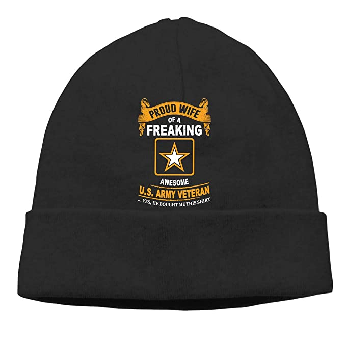 a09833388f3 Proud Wife of A Freaking Awesome Us Army Veteran Men Women Slouchy Skull Cap  Knit Hat Cap Winter Beanie at Amazon Women s Clothing store