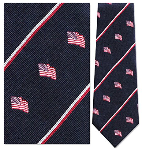 Mens 100% Silk Navy Blue American Flag Stripe Tie Necktie