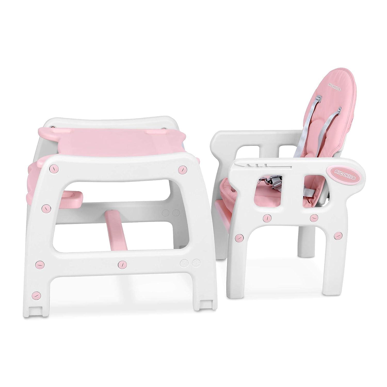 Babystuhl regulierbar Schaukelfunktion SINCO Ricokids Rosa Kinderhochstuhl Babyhochstuhl Mitwachsender Multifunktions Hochstuhl 5in1 Tisch
