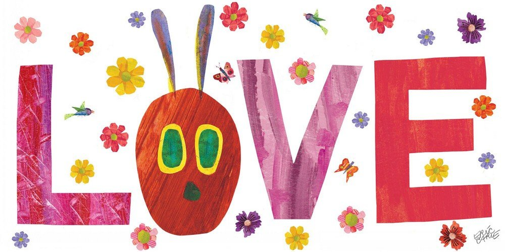Eric Carle 'Caterpillar Love 2' Painting Print on Wrapped Canvas, 45'' X 22.5''