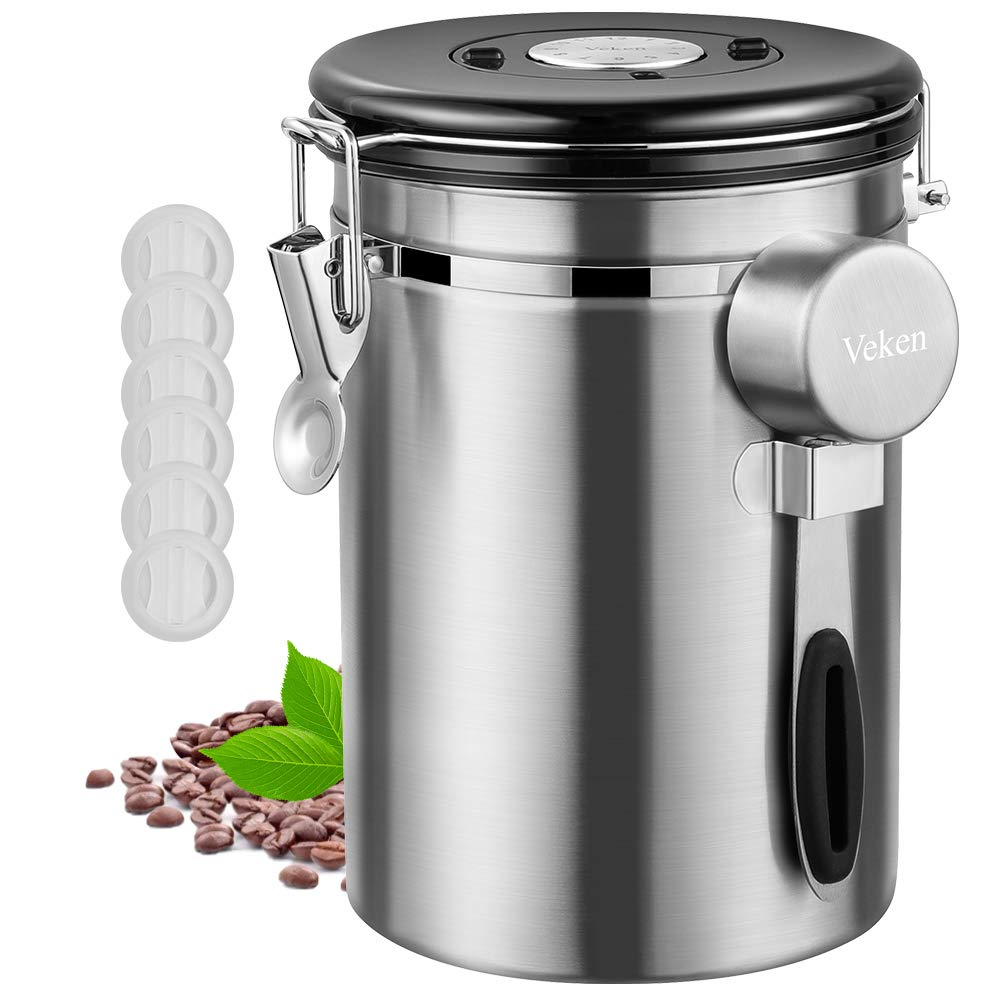 Veken Coffee Canister, Airtight Stainless Steel Kitchen Food Storage Container with Date Tracker and Scoop for Beans, Grounds, Tea, Flour, Cereal & Sugar,22 oz, Silver