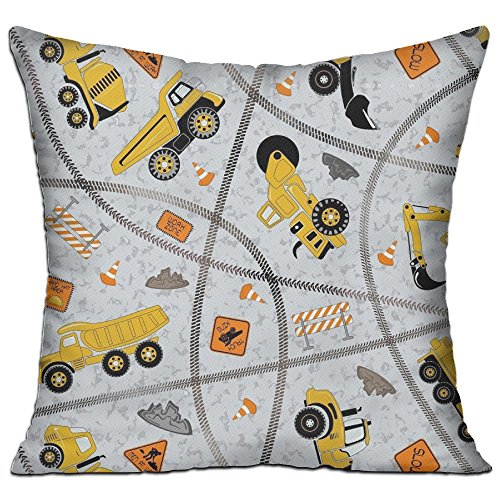 WUMIARUA Geometric Throw Pillow Cases Construction Trucks Zone For Sofa/Bed Euro Cushion Covers Decor Floral Pattern for Sofa (Construction Zone Throw Pillow)