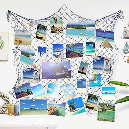 Ecjiuyi Three Days Deals!!!Photo Hanging Display Frames, Mediterranean Decorative Nautical Fish Net Sea Shells Clips Dorm Home Wall Decorations(Blue)