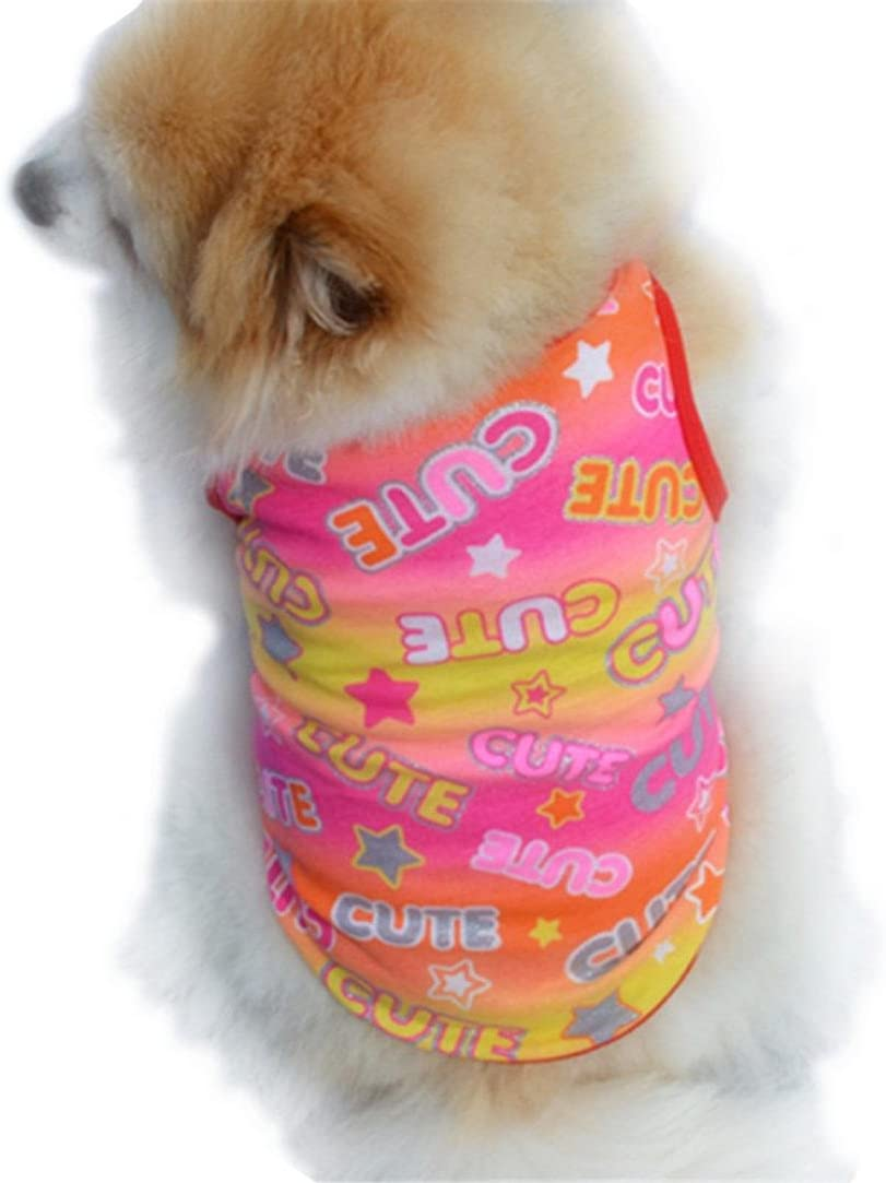 WYXlink Cute Summer Pet Puppy Small Dog Cat Pet Clothes Color print Vest T Shirt Apparel L, Red