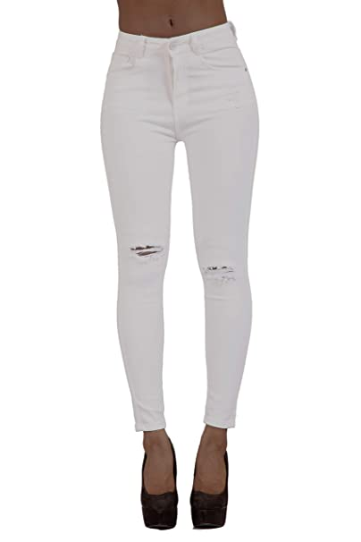 sale retailer save up to 60% coupon code Glook Womens Skinny Stretch High Waist Ripped Jeans Slim Fit ...