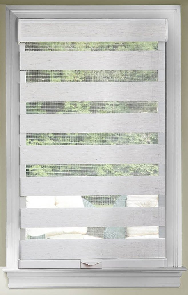 Cordless Window Shades Celestial Sheer Dual Double Layered Light Filtering Adjustable Roman Roller Shade (Linen, 48'' x 72'') by PowerSellerUSA