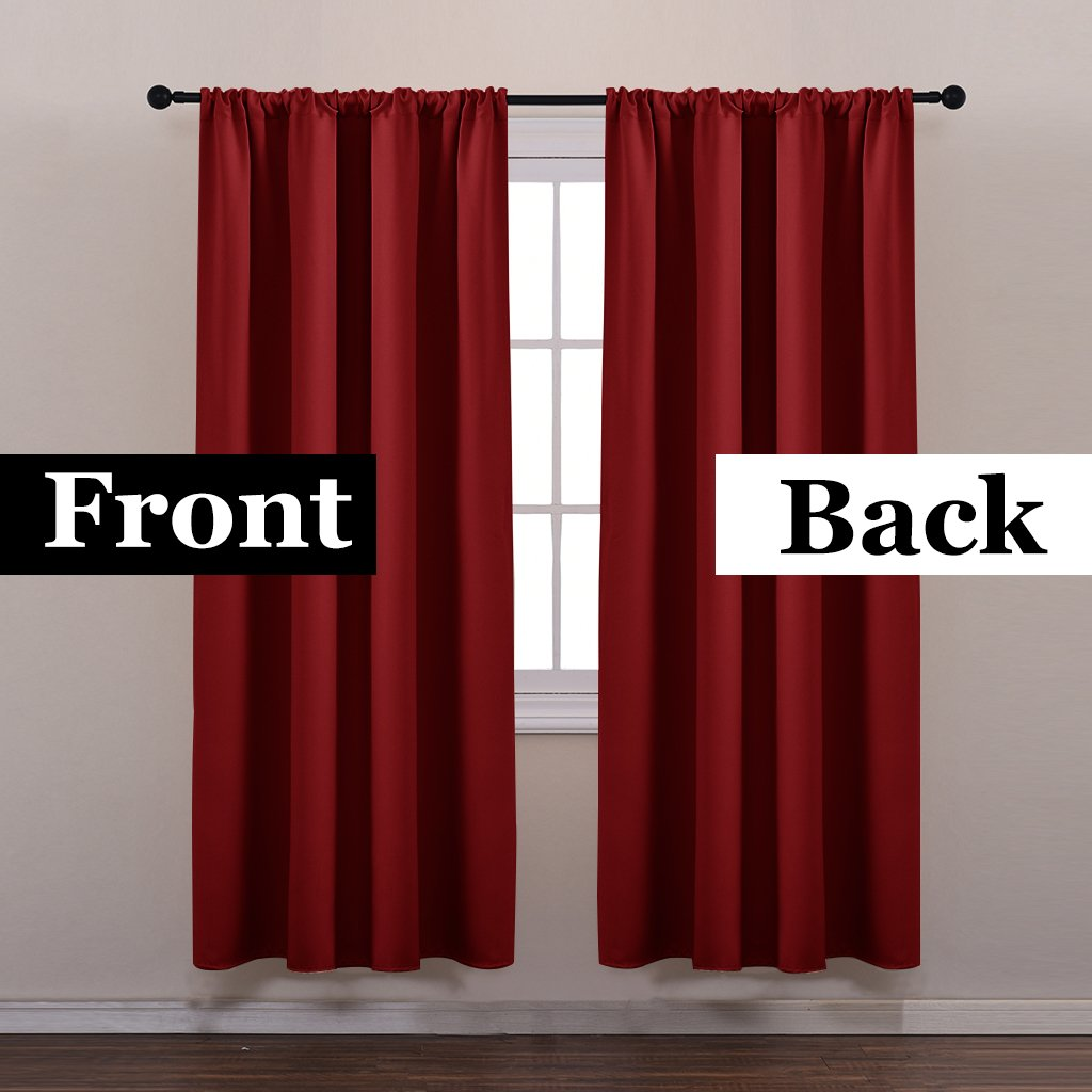 Rod Pocket Blackout Curtains Set - Pony Dance Red Thermal Insulated Rod Pocket Blackout Curtain Panels