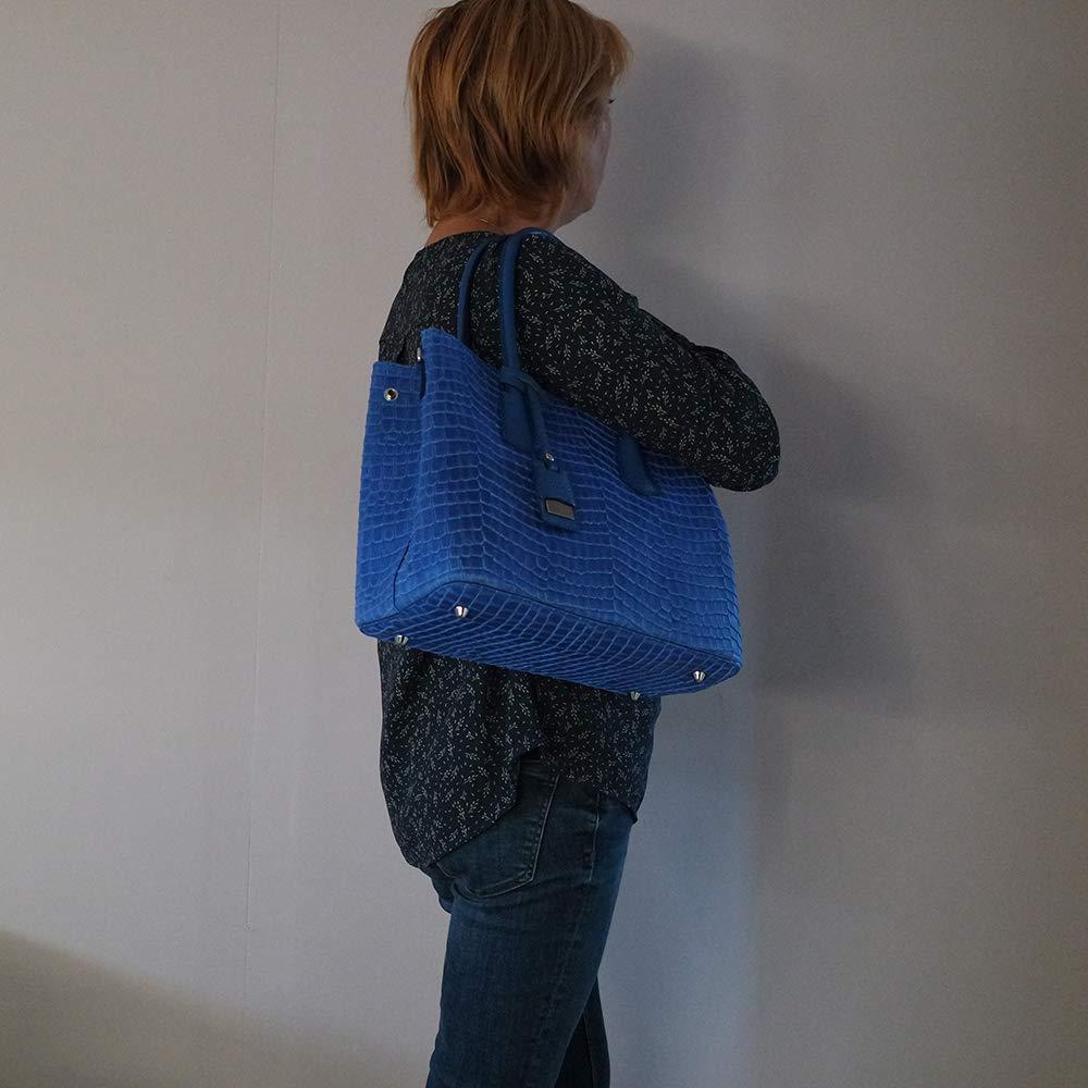 17b354abe9 Chapeau-tendance - Sac a main cuir aspect croco bleu roi - - Femme