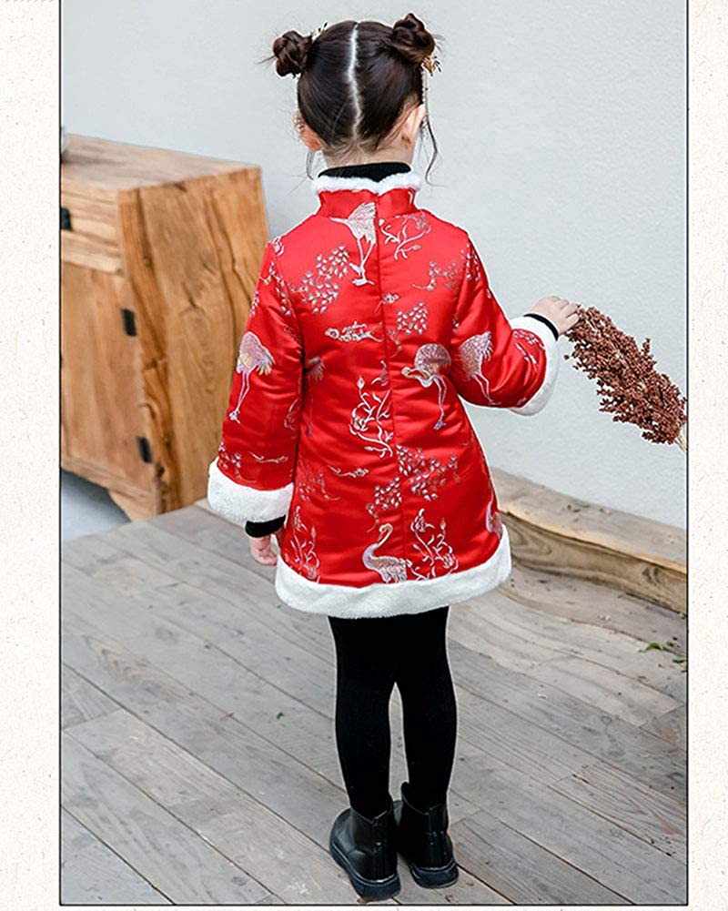Girls Chinese Style Costume Oriental Embroidered Cheongsam Tang Suit New Year Costume Fancy Dress