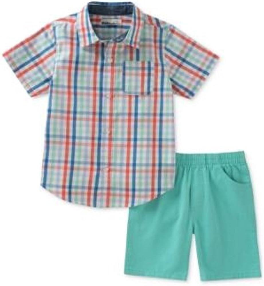 Kids Headquarters Plaid Shirt /& Shorts Set 12 Months