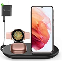 3 in 1 Wireless Charging Station, Qi Wireless Fast Charger Pad Compatible with Samsung Galaxy S21/S20/S10/S9/S8, Galaxy…