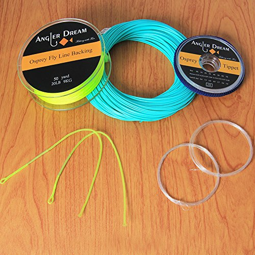 AnglerDream Teal Blue Fly Fihsing Line Combo WF 1 2 3 4 5 6 7 8 9F Fly Fishing Line Backing Leader with Tippet Kit