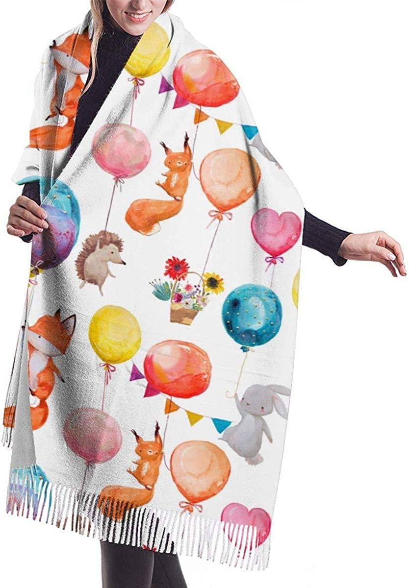 Balloon Fox Rabbit Cashmere Scarf Shawl Wraps Super Soft Warm Tassel Scarves For Women Office Worker Travel