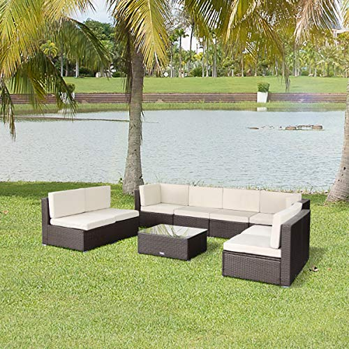 Esright 9 Pieces Patio PE Rattan Wicker Sofa Sectional Furniture (Brown)