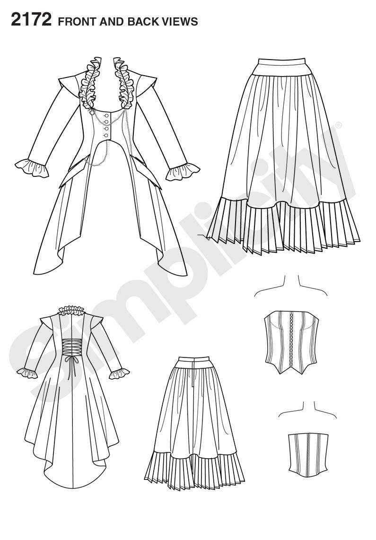Simplicity 2172 HH - Patrones para coser disfraces para mujer ...