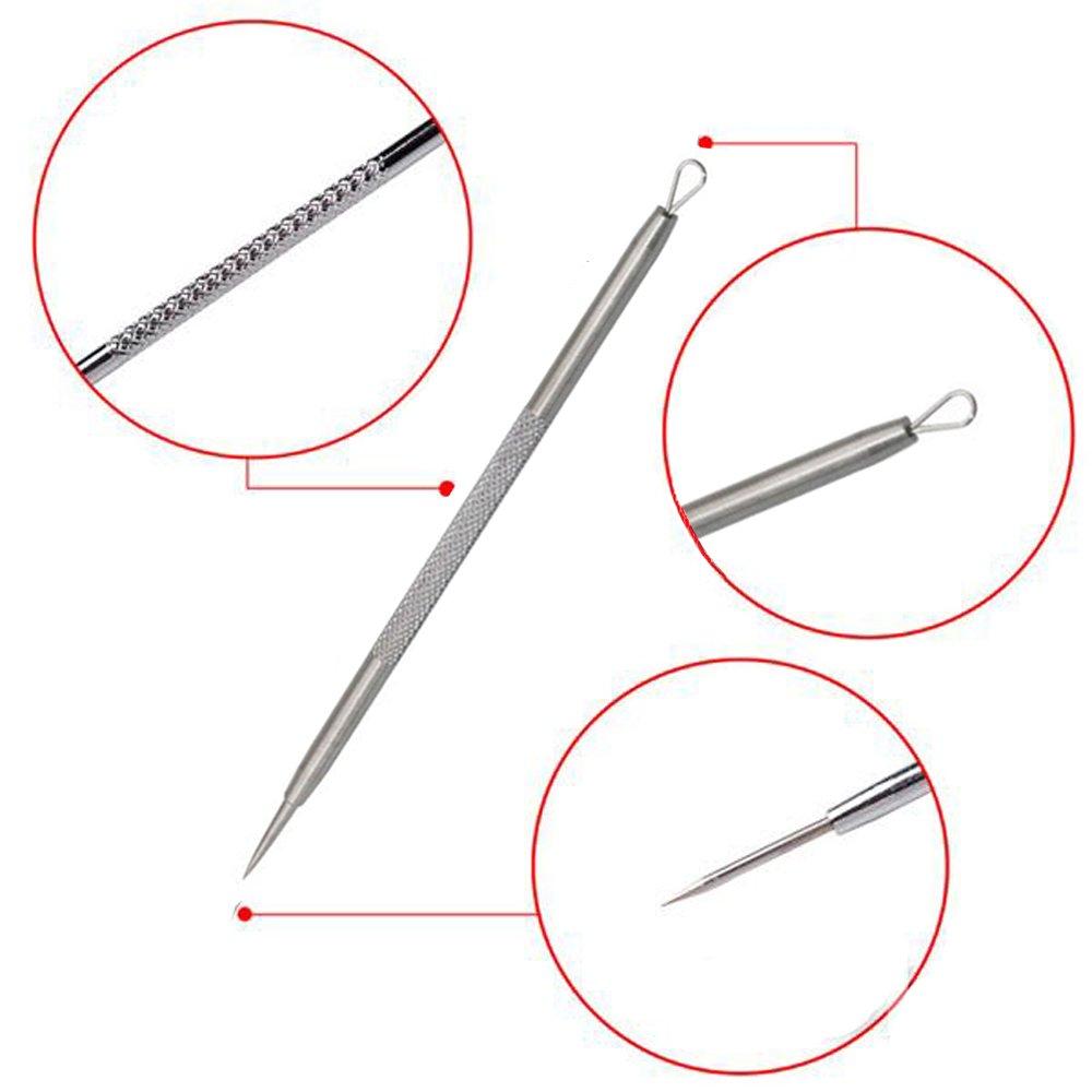 Feita - Kit de herramientas para eliminar puntos negros, extractor de acné y espinillas, juego de herramientas 5 en 1 para eliminar las manchas de la cabeza ...