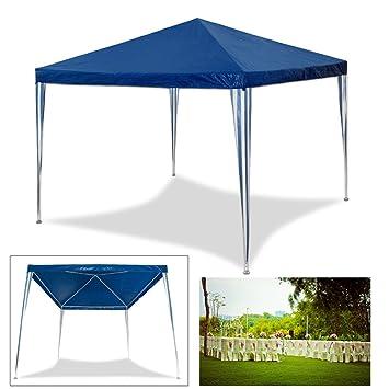 HG® 3 x 3 m pérgolas boda Carpa Tienda para playa camping jardín resistente al agua Pavillion, azul: Amazon.es: Jardín
