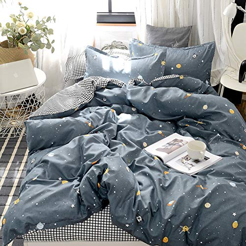 Star Galaxy Bedding Kids Planet Duvet Cover Set Galaxy Universe and White Plaid Reversible Design Kids Boys Girls Bedding Sets Twin (66×90) 1 Duvet Cover 1 Pillowcase (Twin, Blue)