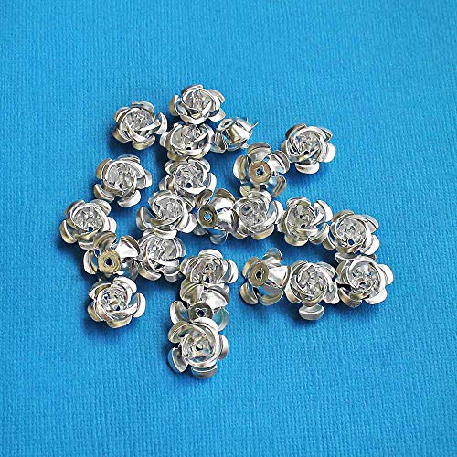 25 Flower Beads Silver Color Aluminum Metallic Roses 17mm x 9mm ODSF-9645
