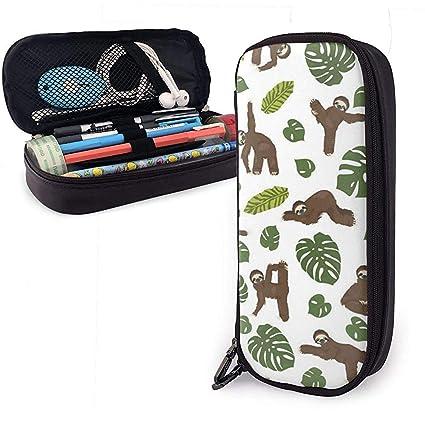 Sloth Yoga Funny Cartoon Animals Leather Pencil Case,Pencil ...