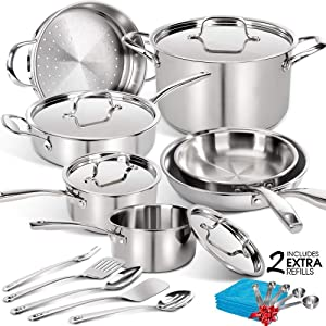 16 Pcs Nonstick Cookware Set, Tri-ply Stainless Steel Pot & Pan Sets Suit for Induction Burner, Dishwasher/Oven Safe