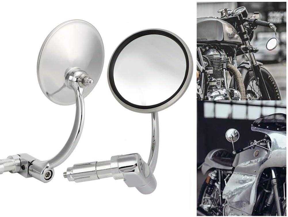 1 Paire Vintage En Acier Inoxydable Moto Universelle Modifi/é Racing R/étroviseur R/étroviseur R/éfl/échissant Suuonee R/étroviseur