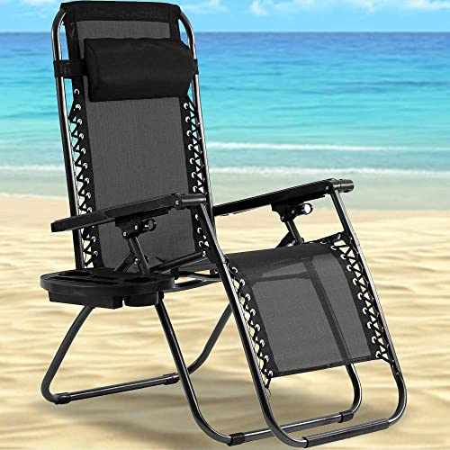 Zero Gravity Chair Outdoor Folding Lounge Chair Recliners Adjustable Lawn Lounge Chair with Pillow, Awning and Cup Holder Tray for Camping, Patio and Poolside Black