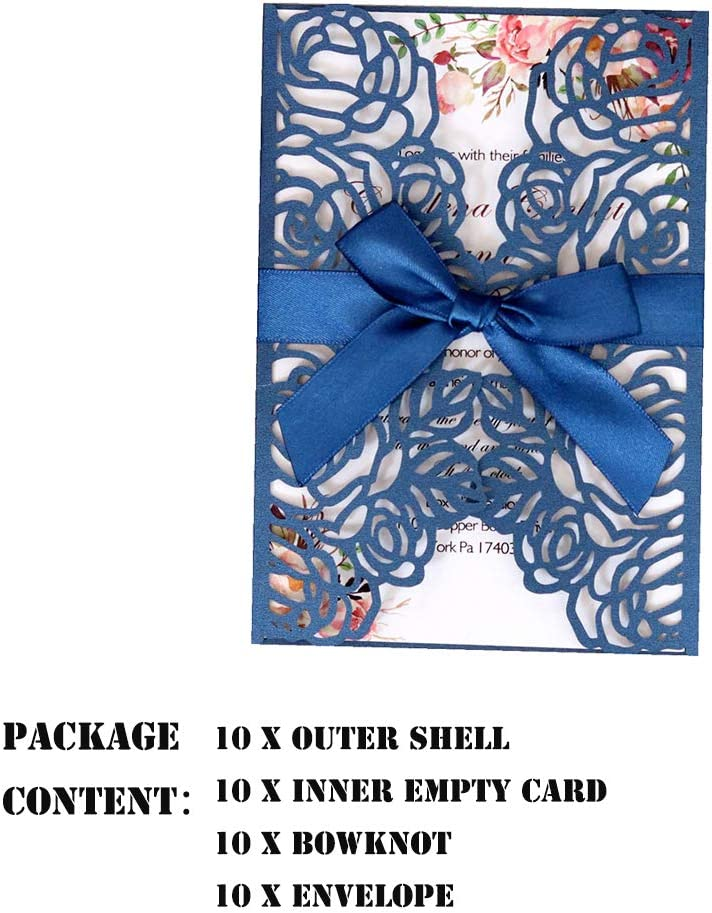 Includes Covers+Blank Cards+Envelopes+Bowknots White Engagement Parties Wedding Invitation Cards,10 Set Laser Cut Floral Design Invites Pocket for Bridal Showers