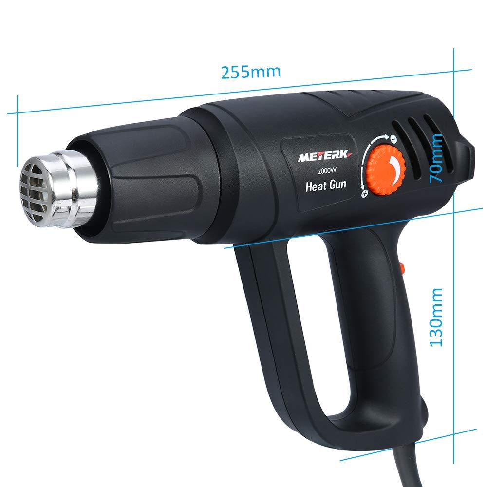 Pistola de Aire Caliente Soldadura de PVC ,Tubos de Soldadura Eliminaci/ón de /Óxido Pelado de Pintura Meterk 2000W 2 Modes Of Adjustable Temperature I: 50-450℃, 250L//min//II: 90-600℃, 500L//min