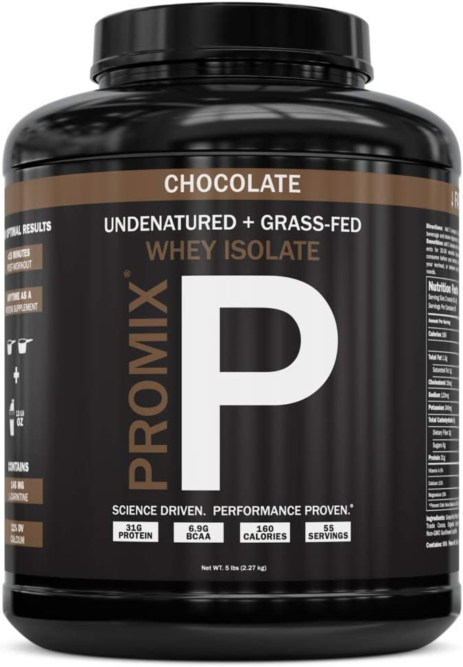 PROMIX: #1 Chocolate Undenatured Grass Fed Whey Isolate. Cold Processed -> Multi-stage Micro-filtration. 30G Protein /6.9G BCAA /.5G Fat /2G Carbs / <1g Lactose.Easy to Mix. (5LB bulk). Chocolate: Health & Personal Care