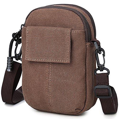 para Bag libre Bolso al para Cross Simple de cintura Bag aire bicicletas Brown de viaje Shoulder Actividades Deey hombres qfYztq