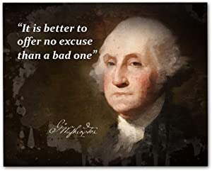 """George Washington Quotes Wall Art, 8""""x10"""" Unframed Art Print - Stunning USA President Room Wall Décor. Great for Teachers, Librarians and Historians"""