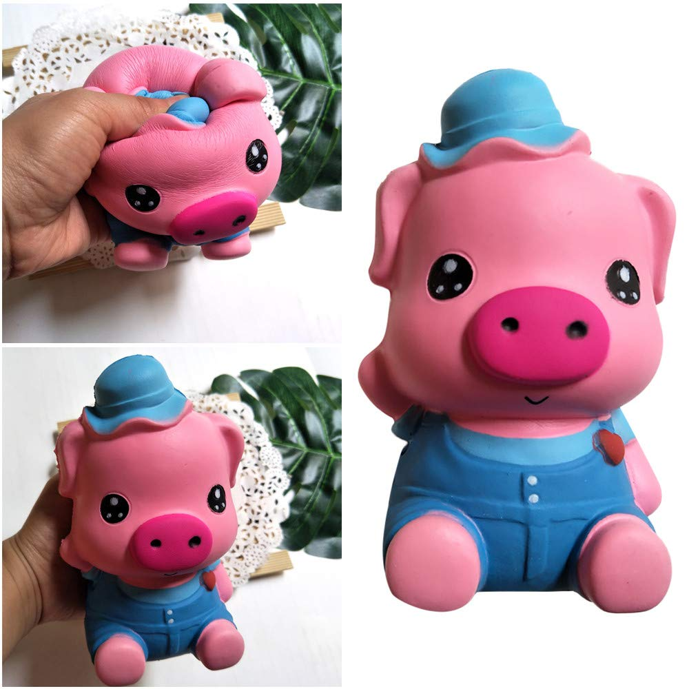 Choosebuy❤️ Squishies Jumbo Cartoon Pig Hop Slow Rising Stress Relief Kawaii Toys Xmas Christmas Collection Educational Gift (A)