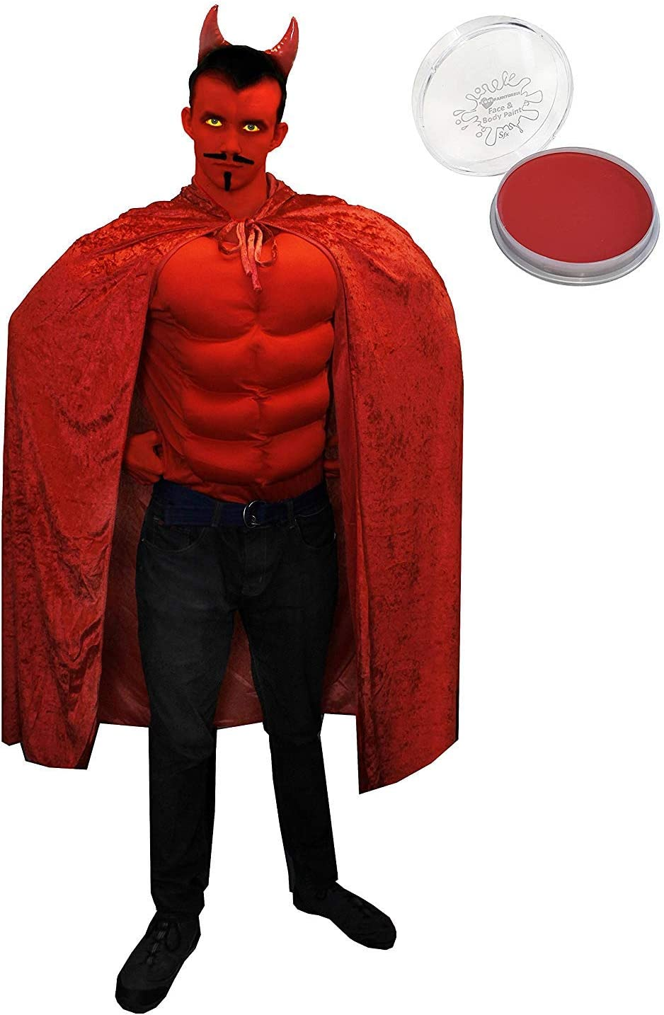 Satin Devil Cape Red Adult Womens Ladies Halloween Fancy Dress