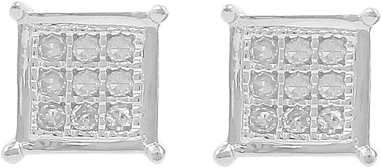 H-I, I1-I2 0.08ct Diamond Square Shape Mens Iced Stud Earrings in 925 Silver
