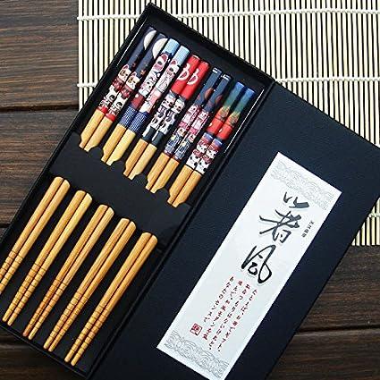 Cinco pares de palillos chinos decorados 5 pares: Amazon.es ...