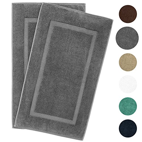 900 GSM Machine Washable 21×34 Inches 2-Pack Banded Bath Mats, Luxury Hotel and Spa Quality, 100% Ring Spun Genuine Cotton, Maximum Softness and Absorbency by United Home Textile, Charcoal Grey