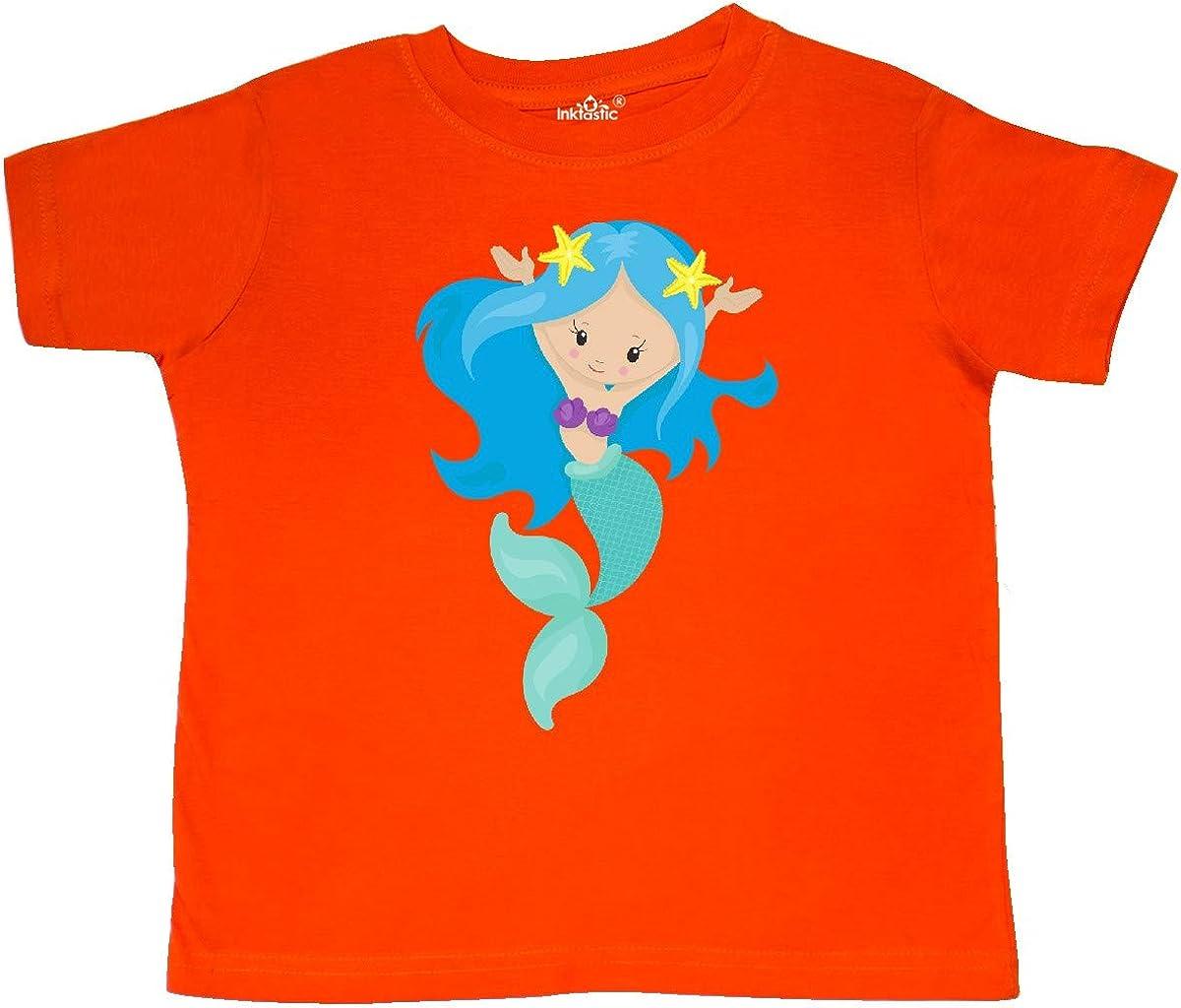 Green Tail Toddler T-Shirt inktastic Cute Mermaid with Long Blue Hair