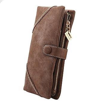 YTTX Moda Mujer Gran capacidad Cartera larga con el botón Monedero de cuero Billetera Bolso de la señora (Café marrón): Amazon.es: Equipaje