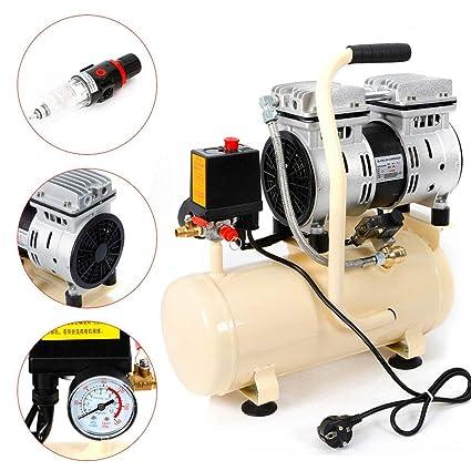 Compresor de aire de 8 L, sin aceite, compresor de aire comprimido, silencioso, 550 W, silencioso, 1380 rpm, 40 L/min.