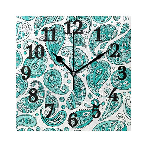 - WIHVE Decorative Wall Clock Paisley Pattern 7.87 Inch Square Numeral Clock Silent Non Ticking for Home Office School
