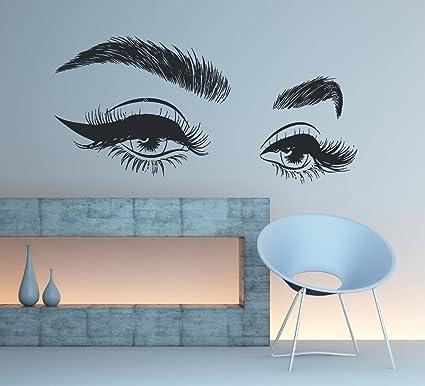 471be2c8162 Amazon.com: Eyelashes Eye Wall Decal, Eyelashes Eye Wall Sticker, Girls Eyes  Eyebrows Wall Decor, Beauty Salon Decoration, Make Up Wall Decor, se006:  Home & ...