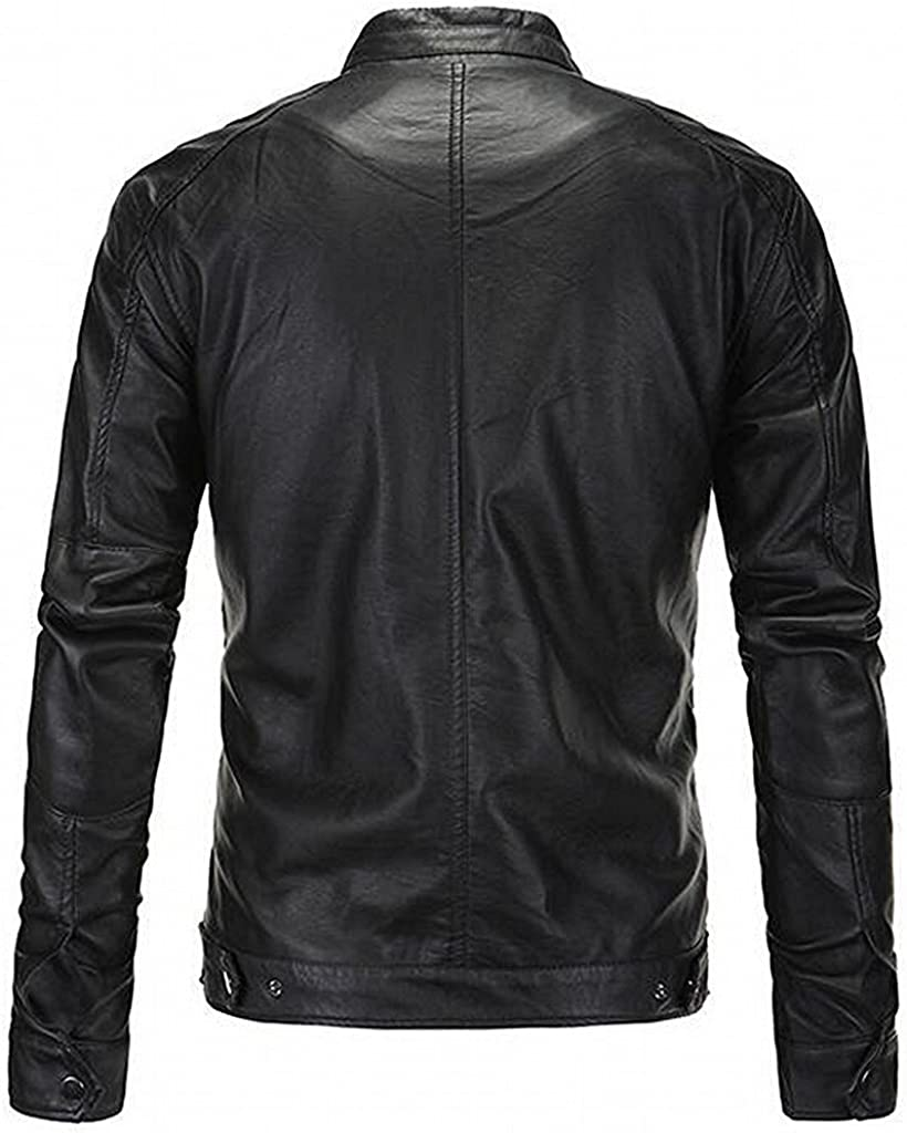 Rising ON Mens Simple Design Stand Collar PU Leather Motor Jacket Fashion