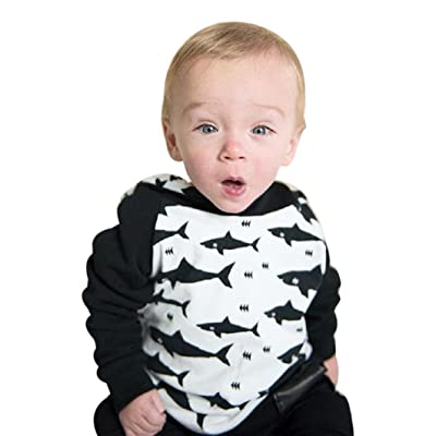 Toddler Baby Girl Boy 3D Cartoon Hooded Shark Print Infant Tops Pants Clothes
